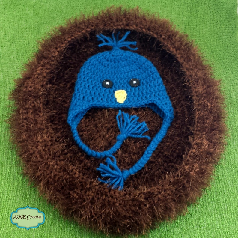 920955a26 Pattern- Crochet Newborn Blue Bird Hat with Nest Photo Prop Pattern, Baby  Boy Bird Hat with Ear Flaps in Bird Nest Bowl