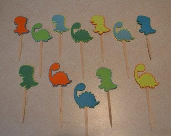 Dinosaur Cupcake Picks - Set of 12 - Dinosaur Birthday Party