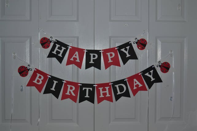 Ladybug Birthday Banner Happy First Decorations Photo Prop Party
