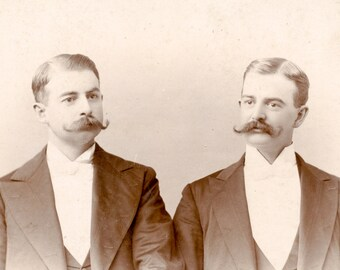 Horizontal Cabinet card of identical twins with mustaches. Rare!