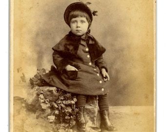 Beautiful cabinet card  a young girl wearing a fancy hat and coat. Gilbert & Bacon. Inscribed and identified.