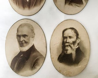 4 antique images of American  poets- Oliver Wendell Holmes, Henry Wadsworth Longfellow, John Greenleaf Whittier, & James Russell Lowell