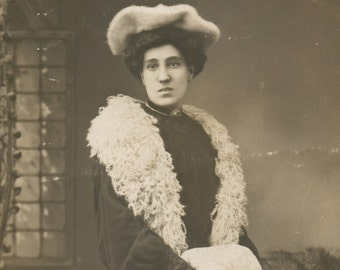 Photo Postcard of a woman in winter clothes, Real Photo Postcard, RPC, RPPC