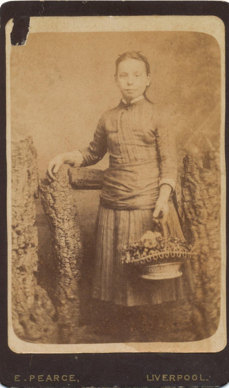 CDV Of Girl Holding A Basket Flowers Carte De Visite