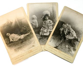 """3 Theatrical Cabinet Cards of Child Actress, """"Little Annie"""" RARE"""