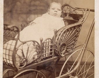 Baby in Carriage Cabinet Card