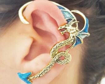 Two shades of glitter dragon earring ear cuff