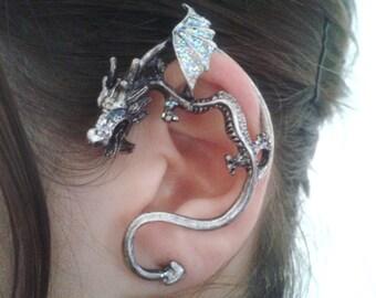 9553a0e6c Silver dreamy dragon ear cuff