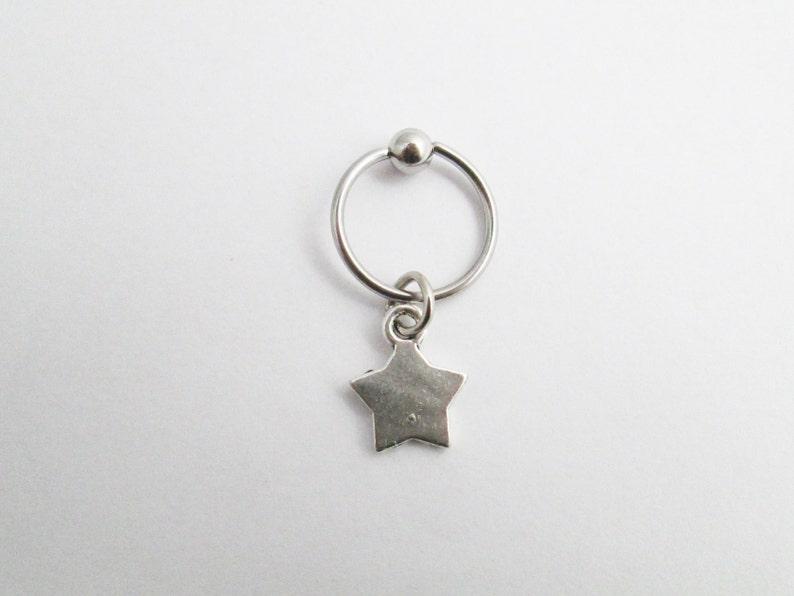 star tragus cartilage hoop earring Silver color Star helix hoop captive ring piercing