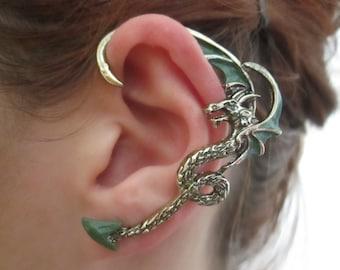 Gothic dark green dragon ear cuff earring