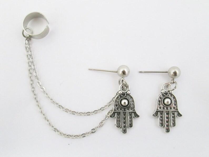 hamsa hand Ear cuff chain with hamsa stud earrings ear cuffs cuff earrings ear cuff silver ear cuff daughter gifts hamsa ear cuff