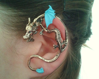 Turquoise Dragon ear cuff