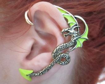 Green Rhaegal dragon ear cuff