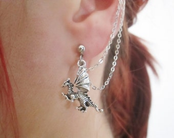 Antique silver enchanted tiny dragon ear cuff