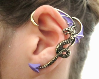 Purple and antique gold dragon ear cuff earring