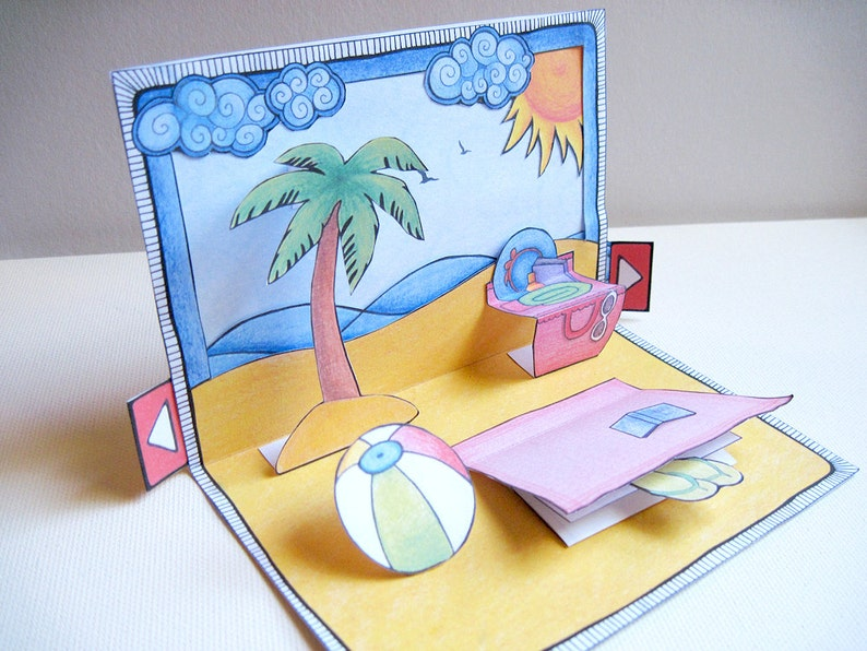 57533a605 Day at the beach  DIY Pop Up Card   Envelope Set. Greeting