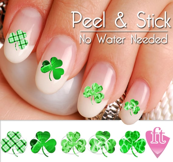 St Patricks Day Shamrock Four Leaf Clover Nail Art Decal Etsy