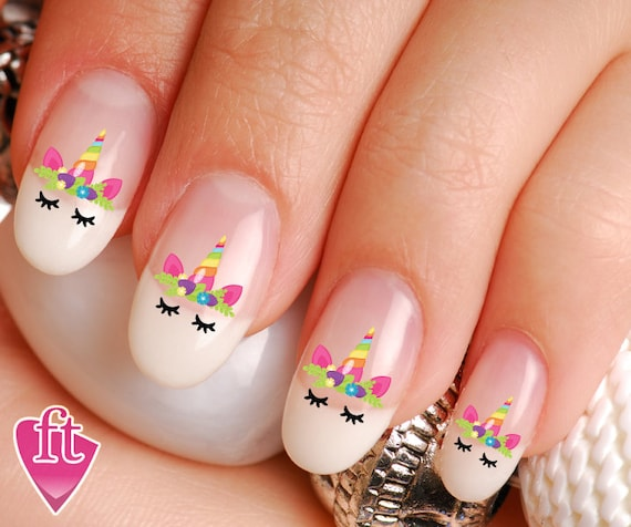 Unicorn Face Flowered Crown Horn Nail Decal Stickers Uni103 Etsy