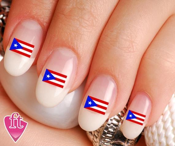 Puerto Rico Flag Pride Mix Nail Art Decal Sticker Set Flg102 Etsy