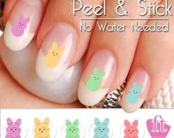 Easter Bunny Peeps Candy Nail Art Decal Sticker Set EST904