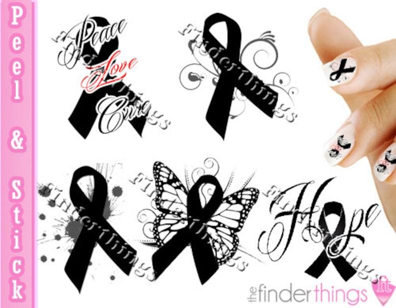 Melanoma Skin Cancer Ribbon Support Nail Art Decal Sticker Set  35a4b9f6f3c3