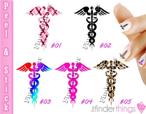 Nail Art Decals Stickers Caduceus Nurse Appreciation Rn Etsy