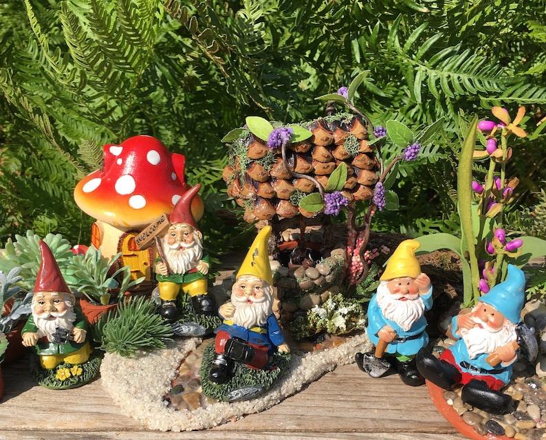 Hard Working Miniature Gnomes, Gnome Garden Accessory, Diorama Accessory,  Terrarium Accessory, Indoor Outdoor Miniature Garden Accessory