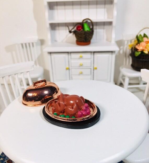 Casa De Muñecas Navidad Peluche Tallada pavo asado con comida Miniatura De Mama