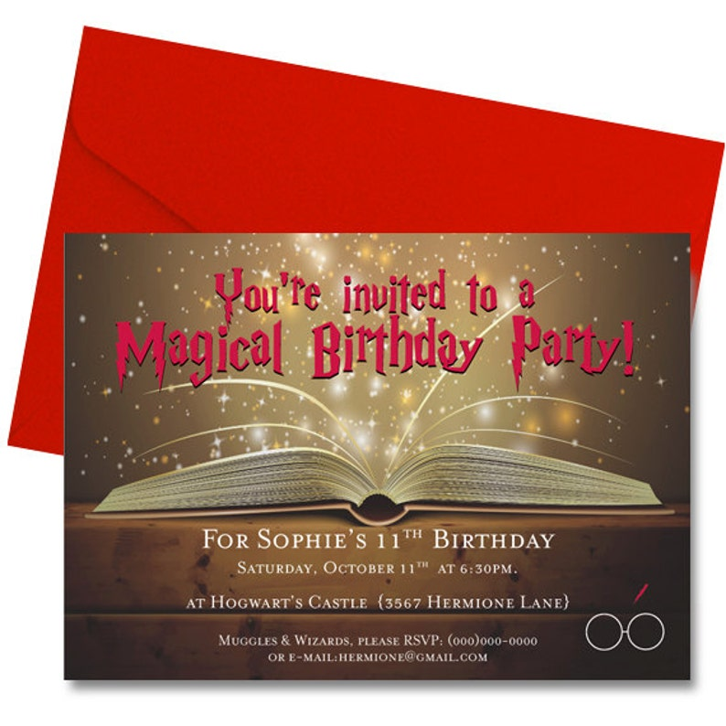 Wizard Kid Birthday Party Invitation