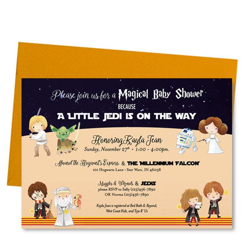 d84c96573b6 Wizard Kid Star Space Baby Shower Invitation Shower Invite