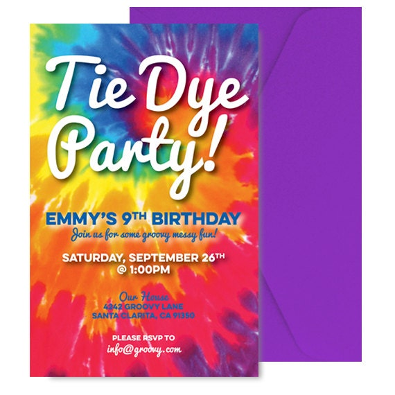 tie dye party invite tie dye party invitation tiedye party etsy