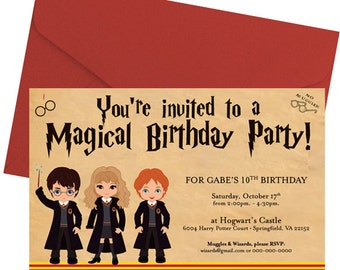Harry Potter Party Invitation - Wizard friends - Harry Hermione Ron