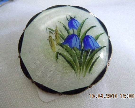 STERLING Silver Brooch Pin NORWAY GUILLOCHE Blue B