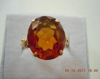 14k PADPARADSCHA - Lab Created Orange Sapphire - Mint 1960's -