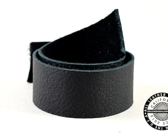"""Genuine Black Leather Strap, Raw Cut, Single-sided, Black, 25mm (1"""" inch) By the Yard (1529)"""