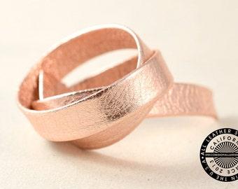 "Genuine Flat Leather Strap, Folded, Metallic Rose Gold, 13 mm (1/2"" inch) 3 yards (108"" inch) (1634)"
