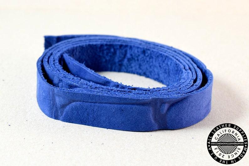 Blue Crocodile Embossed Single Sided Flat Leather Raw Cut Strap 20mm s12-L-Blu 34 inch