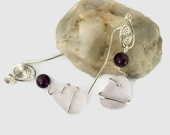 Lilac Sea Glass Glass Earrings with Amethyst Beads. Sterling Silver, Beach Glass,  Modern Earrings, Forged Metalwork