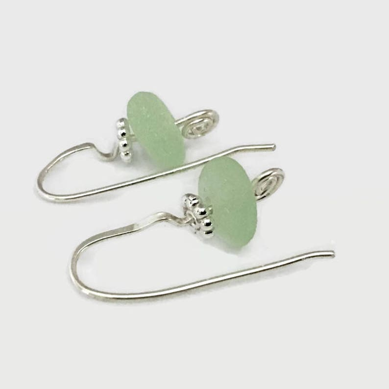 Handcrafted Silver Jewelry Unisex Adults Pale Green Beach Glass Sterling Silver Earrings California Sea Glass