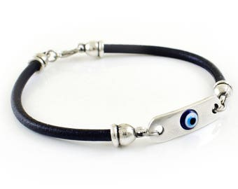 Men Leather Bracelet, Evil eye bracelet, Men Bracelet Silver Tone Metal, Greek Mati, Nazar bracelet, Evil Eye Jewelry, Men Jewelry
