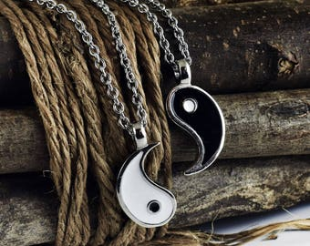c48e9cd42 Yin Yang Necklace, Friendship Spiritual Necklace, friend gift, Balance Yoga  Jewelry, Set of 2, Valentines Day Gift