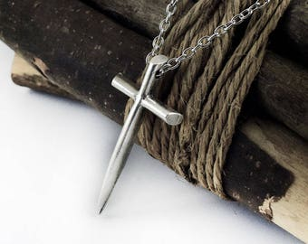 Cross Necklace, Large Silver Tone Christian Cross Pendant Necklace, Sword Cross, Religious Cross Jewelry