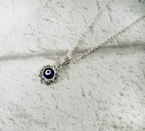 Bleu collier mauvais œil pendentif en argent de mauvais œil   Etsy f485bb94fbf7
