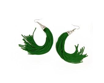 Tassel Earrings, Long Green Tassel Earrings, Fringe Earrings, Tassel Jewelry, Gifts for Her