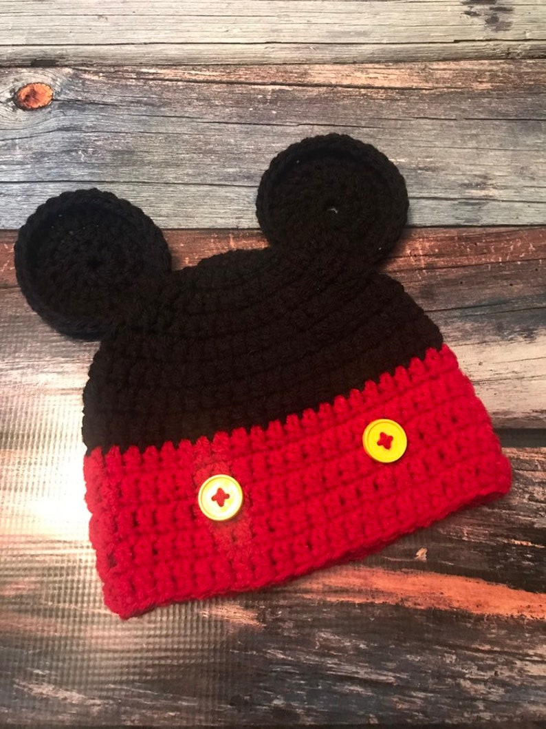 878a2c082 Mickey Mouse hat, winter hat, beanie, crochet, Christmas gift, birthday  gift, baby boy, photography prop