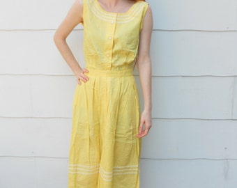 Vintage 1950's Yellow Skirt and Shirt Set (#18-2)