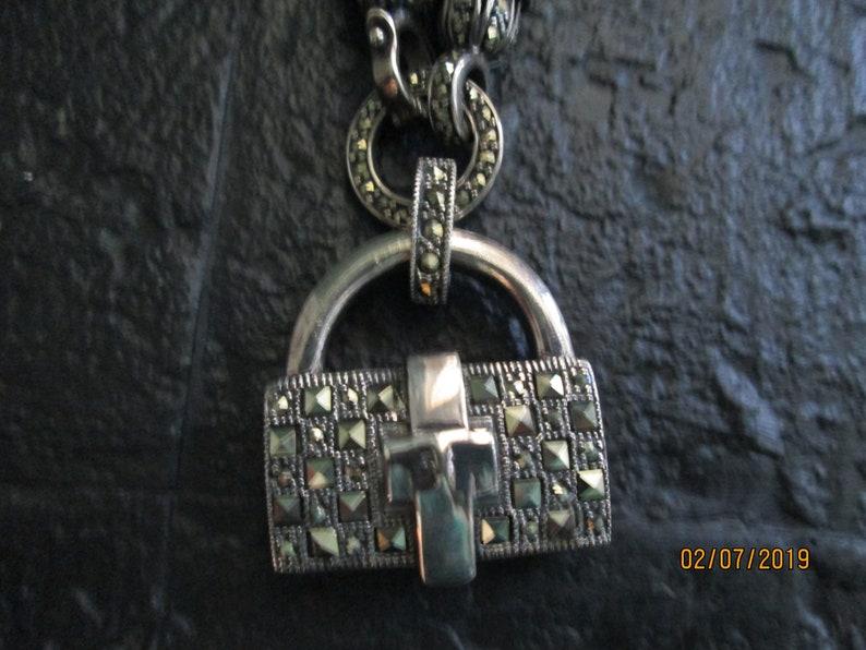 Ari D Norman Sterling Silver Marcasite Purse Pendant