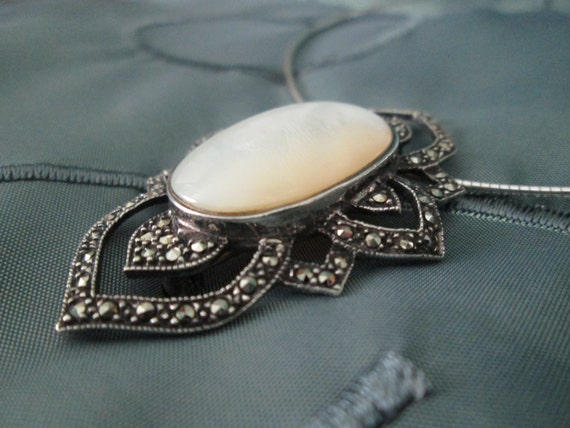 Vintage Marcasite and Mother of Pearl Silver Brooc