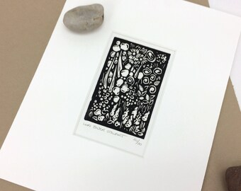SALE - Small Floral - Flowers - Linocut Printmaking - Block Print - Wall Art - Black and White - 8x10