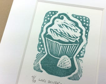 SALE - Cupcake - Sweet - Kitchen Art - Deserts - Linocut Printmaking - Block Print - Wall Art - Black and White - 5x7